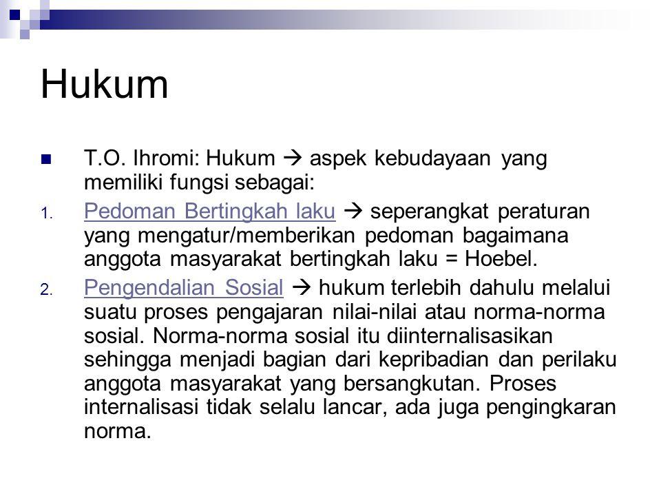 Hukum T.O. Ihromi: Hukum  aspek kebudayaan yang memiliki fungsi sebagai: 1. Pedoman Bertingkah laku  seperangkat peraturan yang mengatur/memberikan