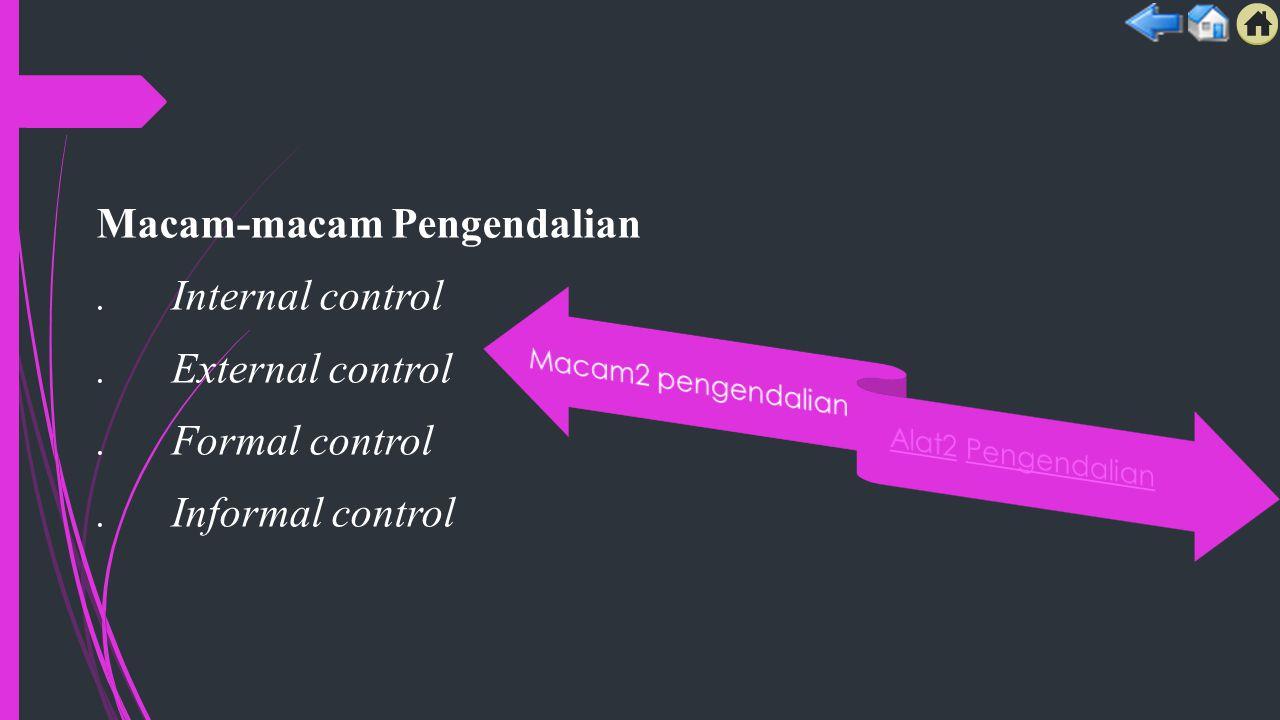 Macam-macam Pengendalian. Internal control. External control. Formal control. Informal control