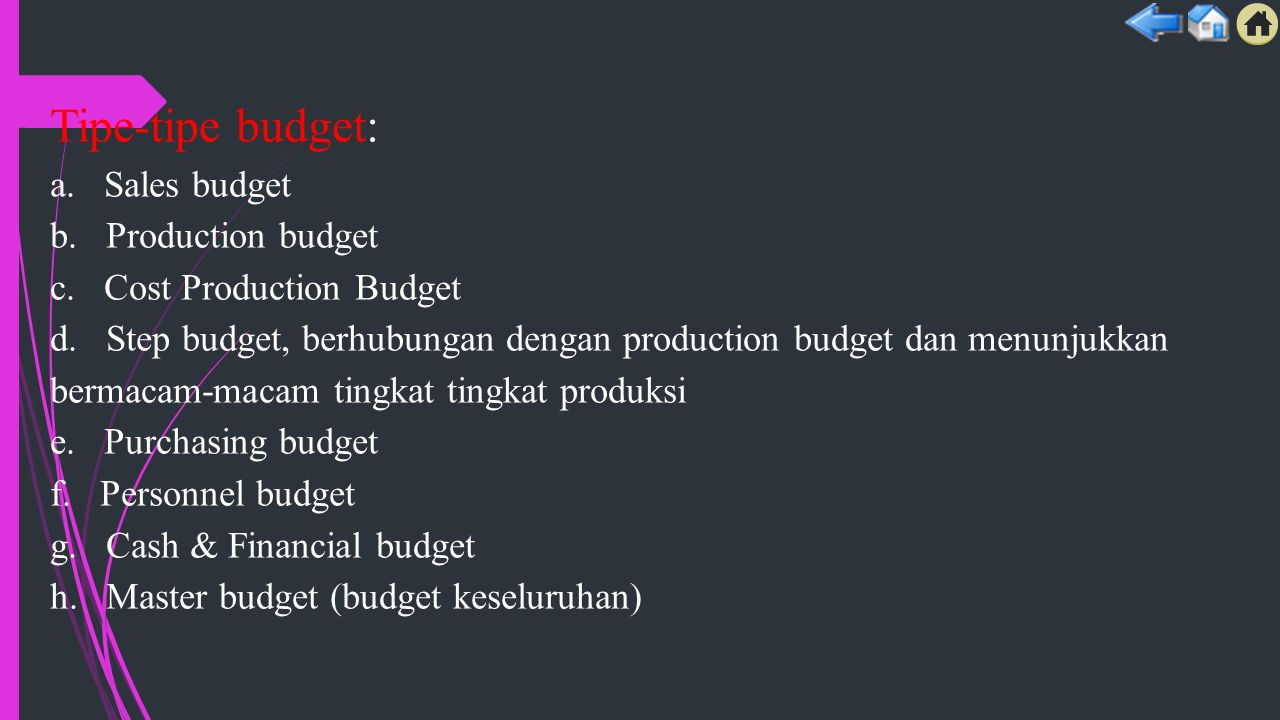 Tipe-tipe budget: a. Sales budget b. Production budget c.
