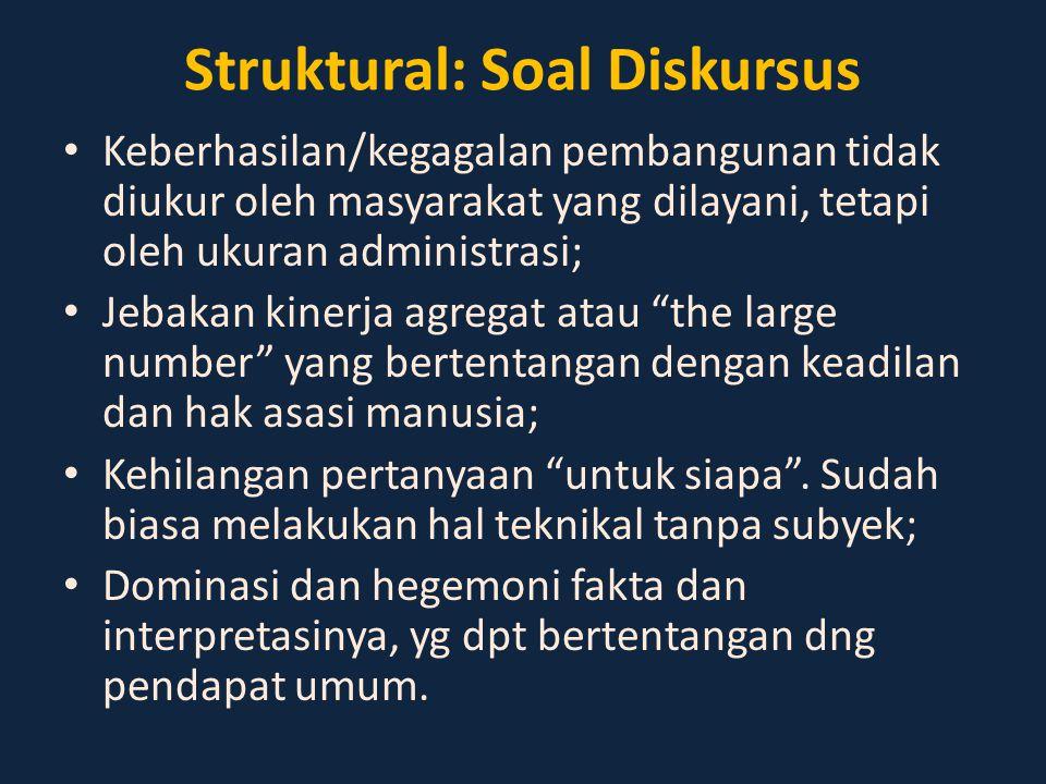 Struktural: Soal Diskursus Keberhasilan/kegagalan pembangunan tidak diukur oleh masyarakat yang dilayani, tetapi oleh ukuran administrasi; Jebakan kin
