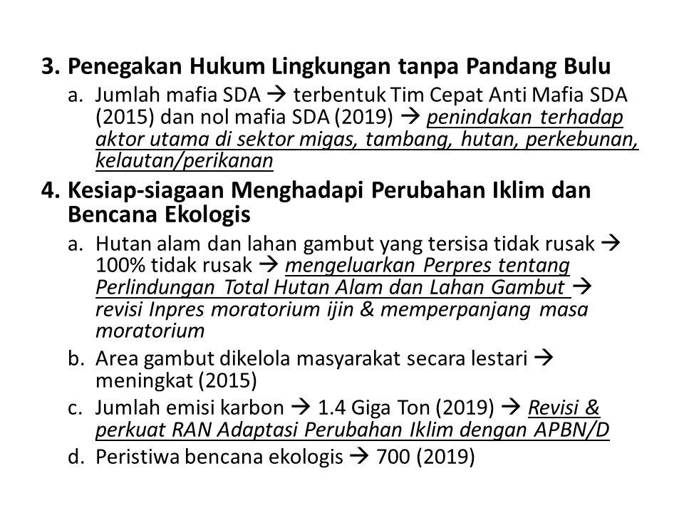 3.Penegakan Hukum Lingkungan tanpa Pandang Bulu a.Jumlah mafia SDA  terbentuk Tim Cepat Anti Mafia SDA (2015) dan nol mafia SDA (2019)  penindakan t