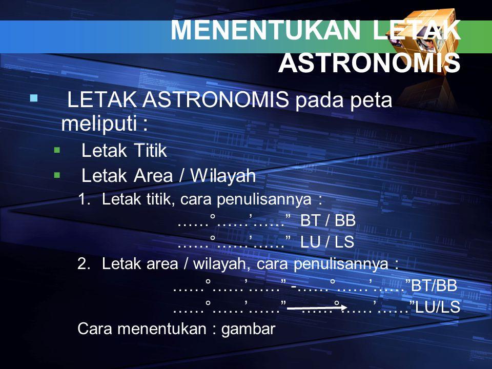 """MENENTUKAN LETAK ASTRONOMIS  LETAK ASTRONOMIS pada peta meliputi :  Letak Titik  Letak Area / Wilayah 1.Letak titik, cara penulisannya : ……°……'……"""""""