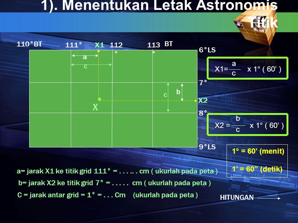 1). Menentukan Letak Astronomis Titik 112 ° 111°113 ° BT 6°LS 7° 8° 9° X a b X1 X2 LS 110°BT c c C = jarak antar grid = 1° =... Cm (ukurlah pada peta