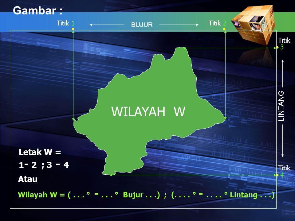 Gambar : WILAYAH W Titik 1Titik 2 3 Titik 4 Letak W = 1 - 2 ; 3 - 4 Atau Wilayah W = (... ° -... ° Bujur...) ; (.... ° -.... ° Lintang...) BUJUR LINTA