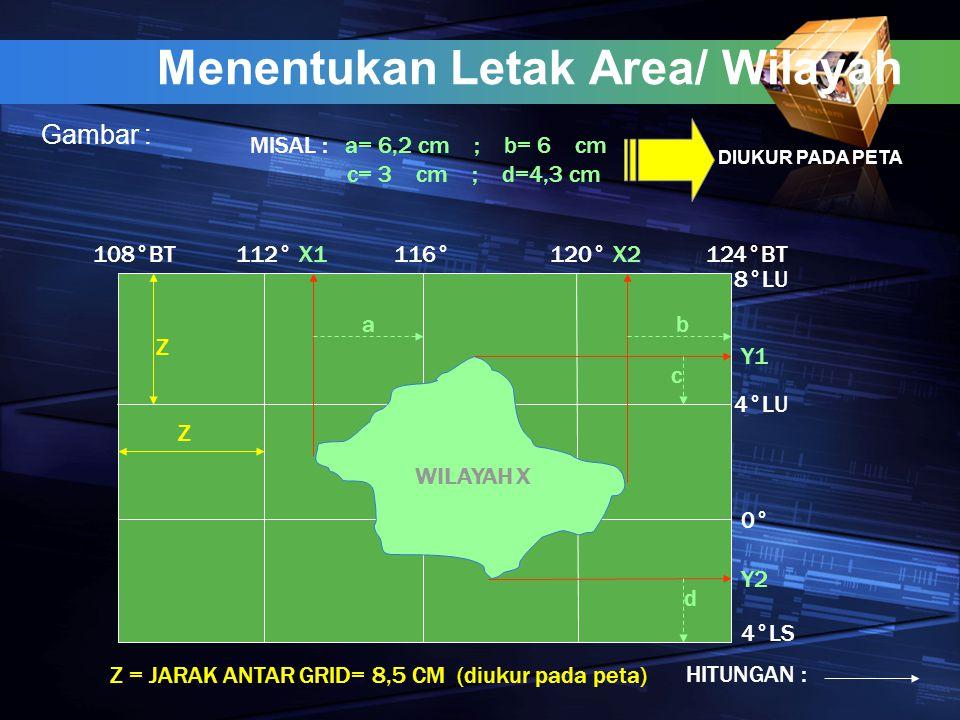 Menentukan Letak Area/ Wilayah Gambar : WILAYAH X X1X2 Y1 Y2 a b c d Z Z 112°116°120° 8°LU 0° 4°LS 4°LU 124°BT108°BT MISAL : a= 6,2 cm ; b= 6 cm c= 3