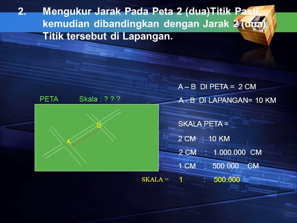 2.Mengukur Jarak Pada Peta 2 (dua)Titik Pasti, kemudian dibandingkan dengan Jarak 2 (dua) Titik tersebut di Lapangan. A B PETASkala : ? ? ? A – B DI P
