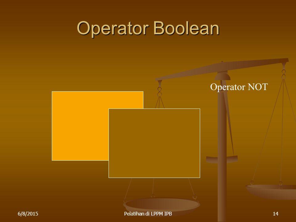 6/8/2015Pelatihan di LPPM IPB14 Operator Boolean Operator NOT