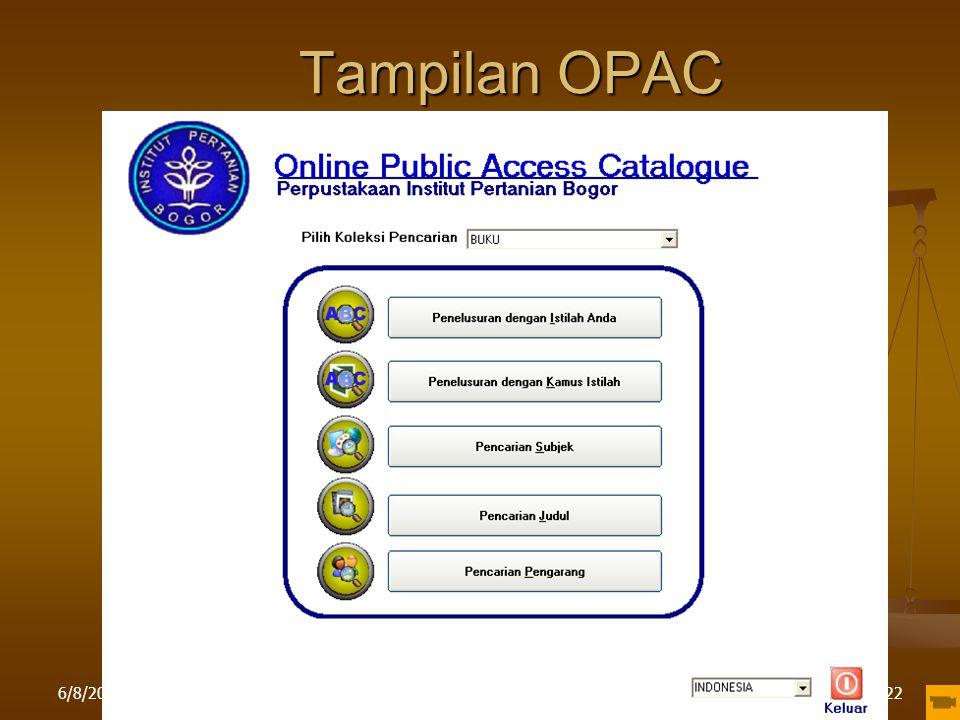 6/8/2015Pelatihan di LPPM IPB22 Tampilan OPAC