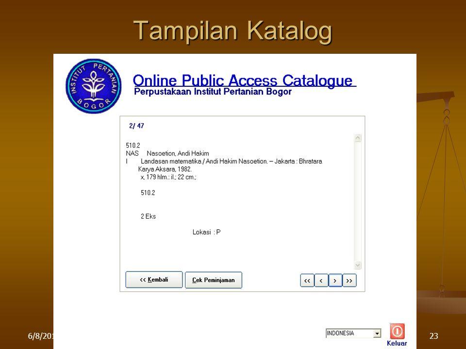 6/8/2015Pelatihan di LPPM IPB23 Tampilan Katalog