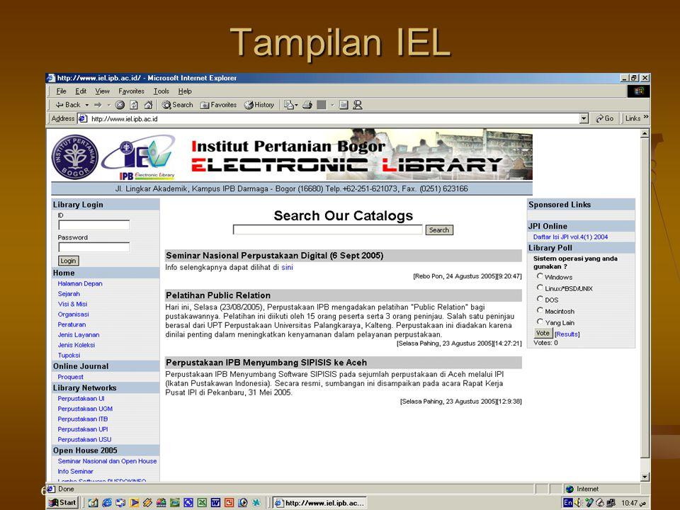 6/8/2015Pelatihan di LPPM IPB28 Tampilan IEL