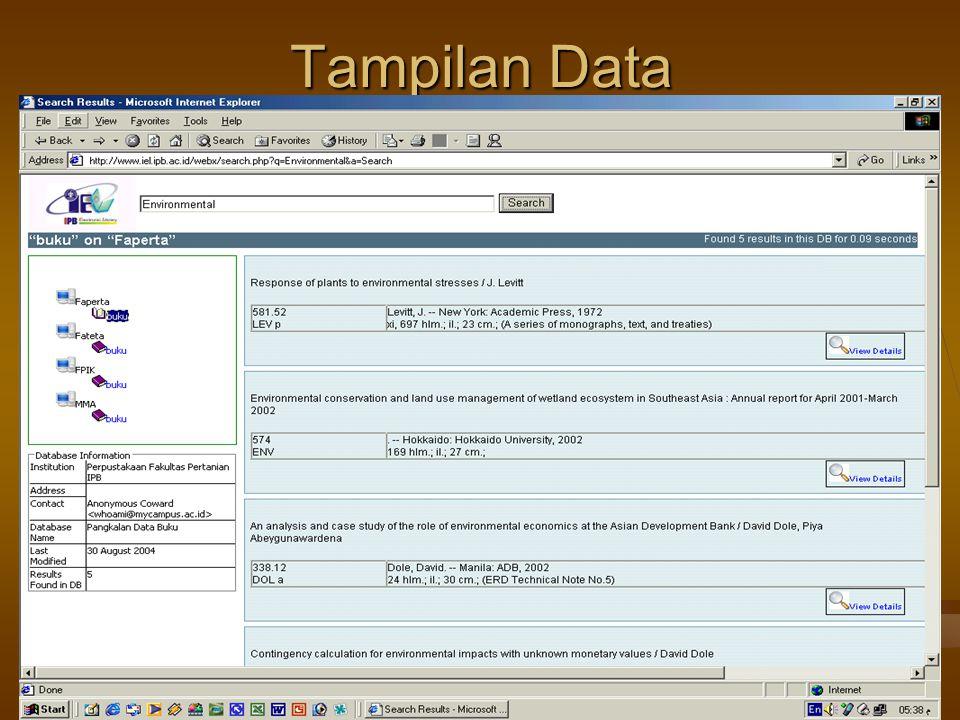 6/8/2015Pelatihan di LPPM IPB29 Tampilan Data