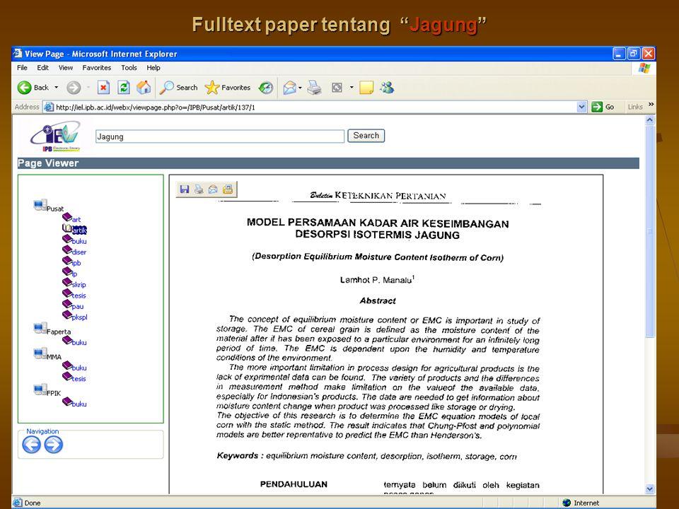 "6/8/2015Pelatihan di LPPM IPB31 Fulltext paper tentang ""Jagung"""