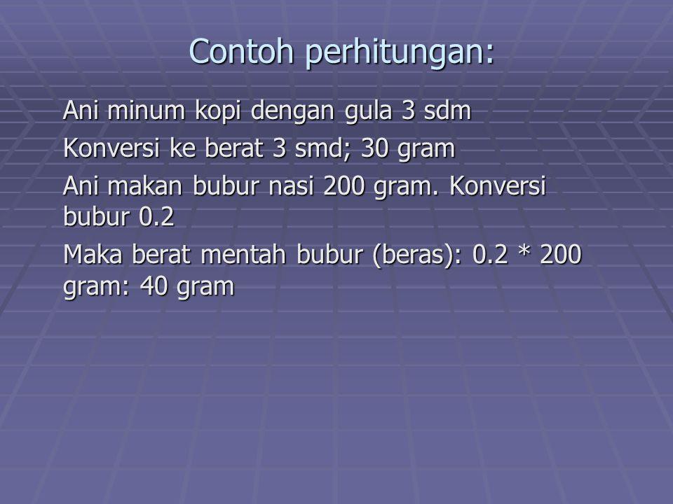 Contoh perhitungan: Ani minum kopi dengan gula 3 sdm Konversi ke berat 3 smd; 30 gram Ani makan bubur nasi 200 gram. Konversi bubur 0.2 Maka berat men