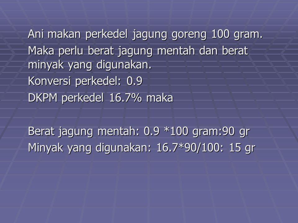 Ani makan perkedel jagung goreng 100 gram. Maka perlu berat jagung mentah dan berat minyak yang digunakan. Konversi perkedel: 0.9 DKPM perkedel 16.7%