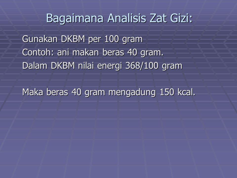 Bagaimana Analisis Zat Gizi: Gunakan DKBM per 100 gram Contoh: ani makan beras 40 gram. Dalam DKBM nilai energi 368/100 gram Maka beras 40 gram mengad
