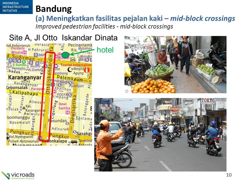 10 Bandung (a) Meningkatkan fasilitas pejalan kaki – mid-block crossings Improved pedestrian facilities - mid-block crossings Site A, Jl Otto Iskandar
