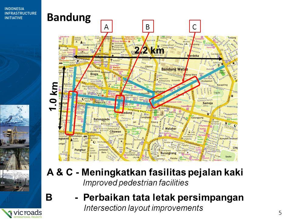 5 Bandung 2.2 km 1.0 km ABC A & C - Meningkatkan fasilitas pejalan kaki Improved pedestrian facilities B - Perbaikan tata letak persimpangan Intersect