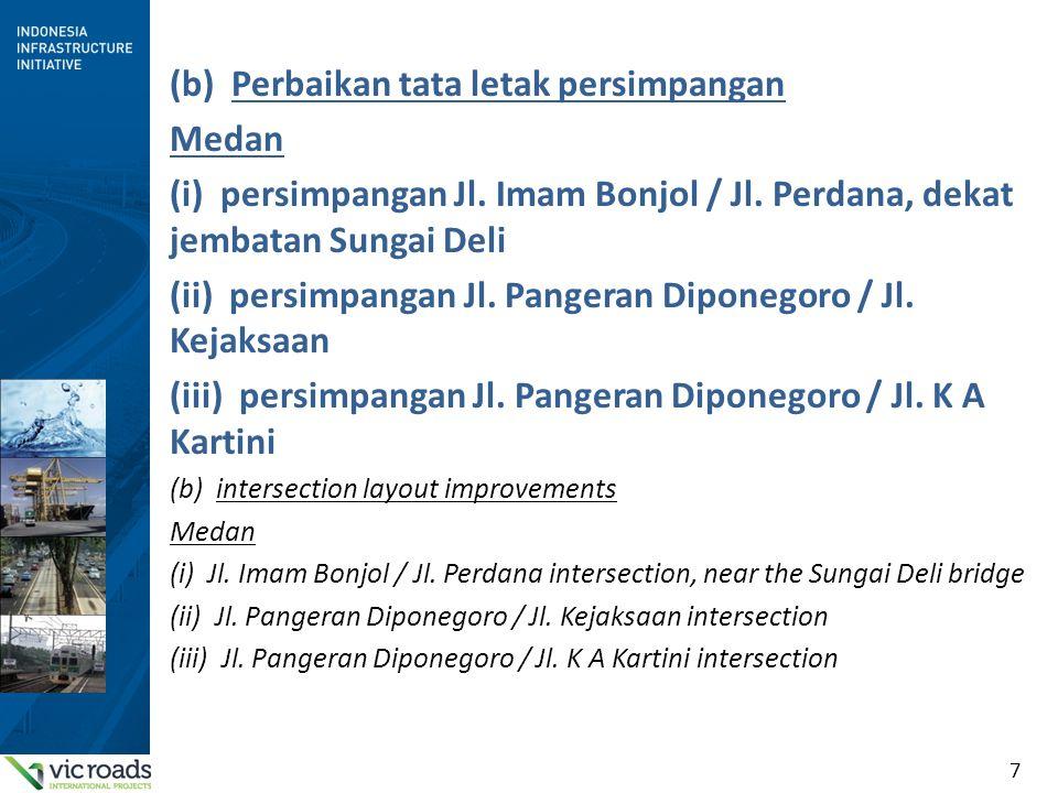 7 (b) Perbaikan tata letak persimpangan Medan (i) persimpangan Jl. Imam Bonjol / Jl. Perdana, dekat jembatan Sungai Deli (ii) persimpangan Jl. Pangera