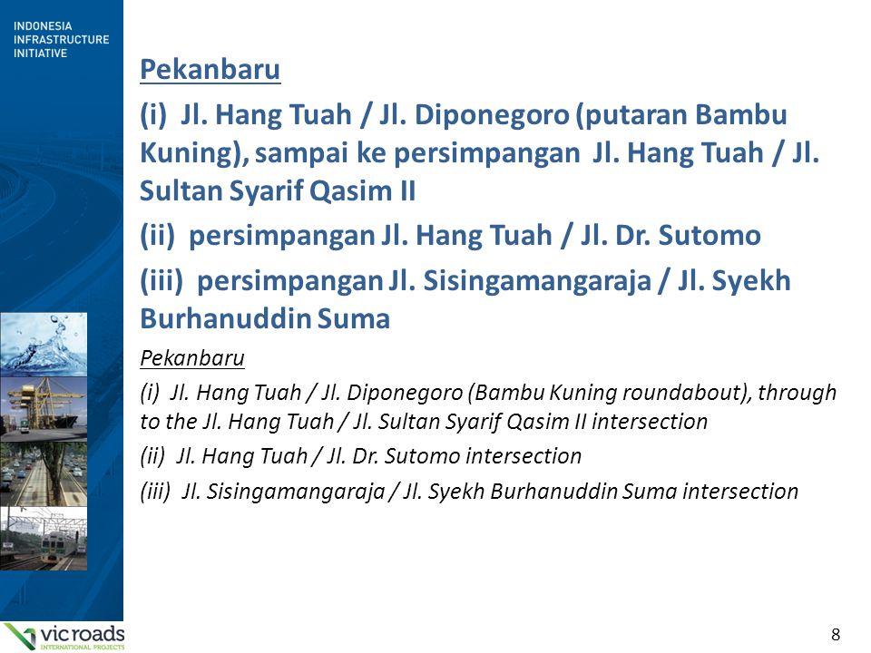 8 Pekanbaru (i) Jl. Hang Tuah / Jl. Diponegoro (putaran Bambu Kuning), sampai ke persimpangan Jl. Hang Tuah / Jl. Sultan Syarif Qasim II (ii) persimpa