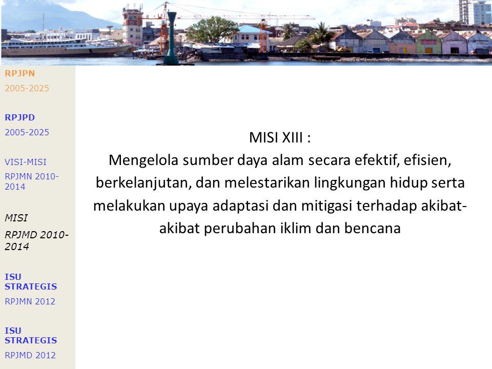 Visi Gubernur RPJMD 2005-2010: Mewujudkan Sulawesi Utara yang Berbudaya, Berdaya saing dan Sejahterah RPJMD 2010-2015: Melanjutkan Pembangunan Sulawes