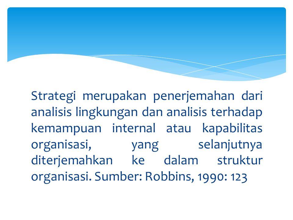 Strategi merupakan penerjemahan dari analisis lingkungan dan analisis terhadap kemampuan internal atau kapabilitas organisasi, yang selanjutnya diterj