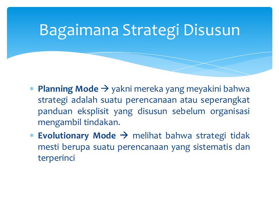  Planning Mode  yakni mereka yang meyakini bahwa strategi adalah suatu perencanaan atau seperangkat panduan eksplisit yang disusun sebelum organisas