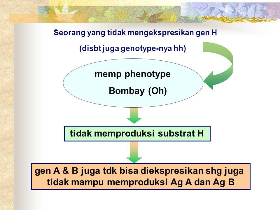 Seorang yang tidak mengekspresikan gen H (disbt juga genotype-nya hh) memp phenotype Bombay (Oh) tidak memproduksi substrat H gen A & B juga tdk bisa