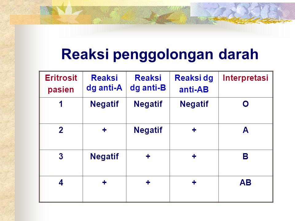 Reaksi penggolongan darah Eritrosit pasien Reaksi dg anti-A Reaksi dg anti-B Reaksi dg anti-AB Interpretasi 1Negatif O 2+ +A 3 ++B 4+++AB