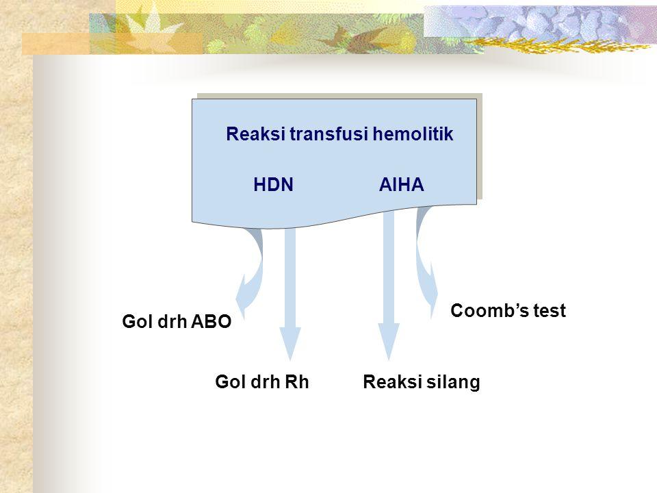 ANTIGLOBULIN TEST ( COOMBS TEST ) Definisi : Tes utk mendeteksi adanya antibodi tidak sempurna (incomplete antibody) yang diabsorpsi oleh eritrosit dengan jalan mereaksikan anti Ig G dan anti komplemen dengan eritrosit yg sudah tersensitisasi terjadi hemaglutinasi Serum Coombs : Serum kelinci yg telah diimunisasi dg fraksi globulin/Ig G manusia, sehingga disebut juga Serum Anti Globulin