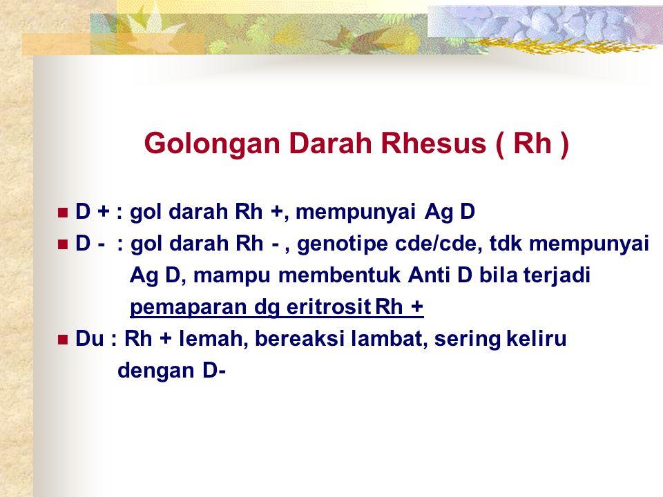 Golongan Darah Rhesus ( Rh ) D + : gol darah Rh +, mempunyai Ag D D - : gol darah Rh -, genotipe cde/cde, tdk mempunyai Ag D, mampu membentuk Anti D b