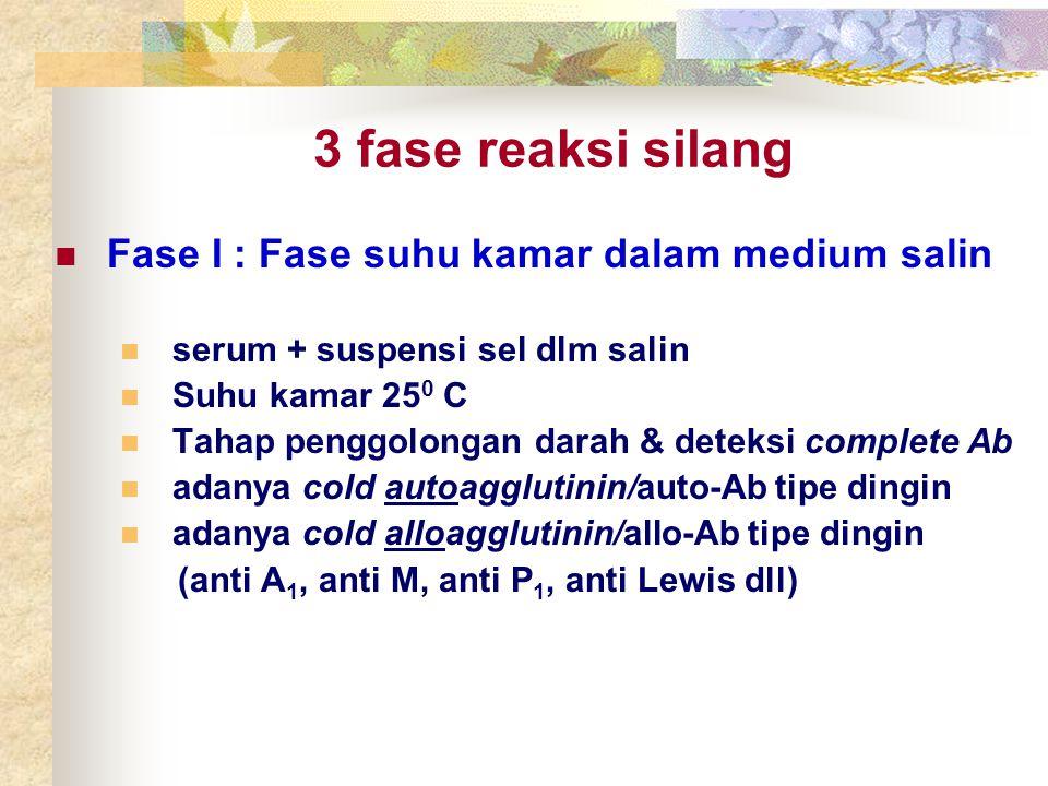 3 fase reaksi silang Fase I : Fase suhu kamar dalam medium salin serum + suspensi sel dlm salin Suhu kamar 25 0 C Tahap penggolongan darah & deteksi c