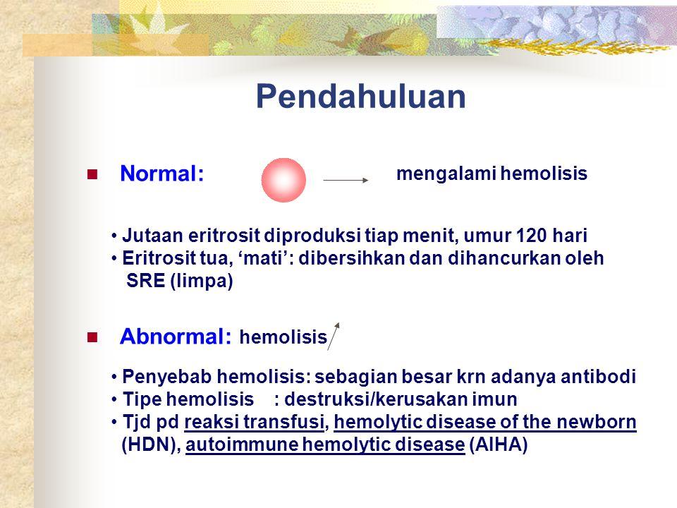 Pendahuluan Normal: Abnormal: hemolisis mengalami hemolisis Jutaan eritrosit diproduksi tiap menit, umur 120 hari Eritrosit tua, 'mati': dibersihkan d