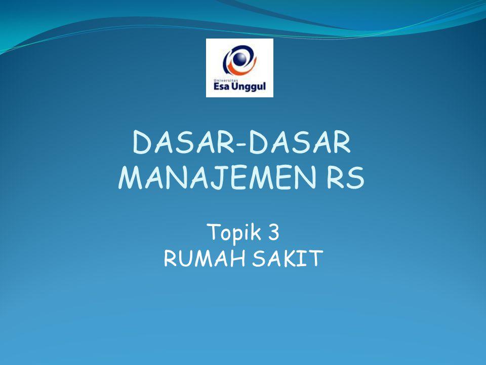Topik 3 RUMAH SAKIT DASAR-DASAR MANAJEMEN RS