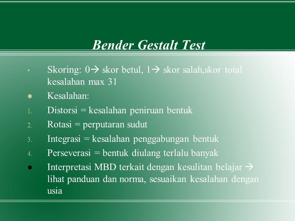 Bender Gestalt Test Skoring: 0  skor betul, 1  skor salah,skor total kesalahan max 31 Kesalahan: 1. Distorsi = kesalahan peniruan bentuk 2. Rotasi =