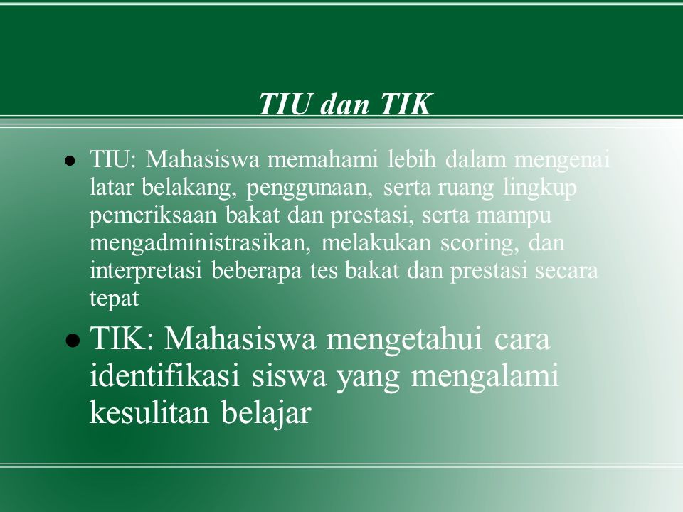 Daftar Pustaka Soekadji, S.1997.Bahan Kuliah Psikodiagnostik IV: Bakat dan Prestasi.