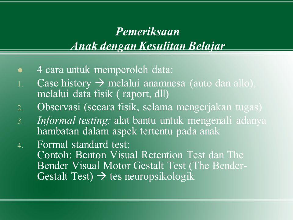 Diskusi Dalam kelompok yang terdiri dari 5 orang, cari perbandingan Benton Visual Retention Test dan The Bender Visual Motor Gestalt Test Bahan: Bahan kuliah Psikodiagnostik VII- Bakat dan Prestasi hal 174-180 Waktu: 10 menit
