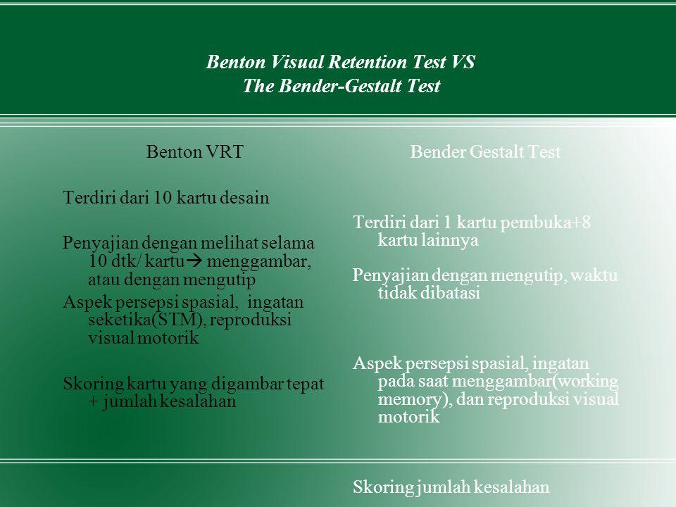 Benton Visual Retention Test VS The Bender-Gestalt Test Benton VRT Terdiri dari 10 kartu desain Penyajian dengan melihat selama 10 dtk/ kartu  mengga