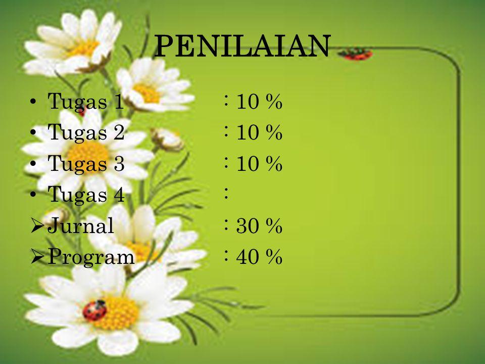 PENILAIAN Tugas 1: 10 % Tugas 2: 10 % Tugas 3: 10 % Tugas 4:  Jurnal: 30 %  Program: 40 %