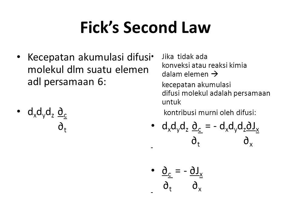 Fick's Second Law Kecepatan akumulasi difusi molekul dlm suatu elemen adl persamaan 6: d x d y d z ∂ c ∂ t Jika tidak ada konveksi atau reaksi kimia d