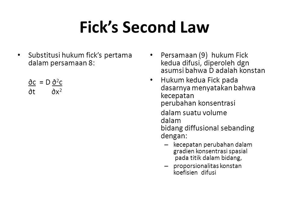 Fick's Second Law Substitusi hukum fick's pertama dalam persamaan 8: ∂c = D ∂ 2 c ∂t ∂x 2 Persamaan (9) hukum Fick kedua difusi, diperoleh dgn asumsi