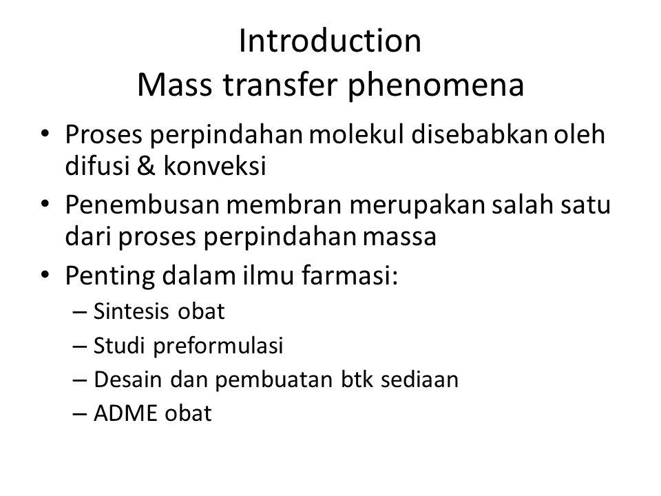 Introduction Mass transfer phenomena Proses perpindahan molekul disebabkan oleh difusi & konveksi Penembusan membran merupakan salah satu dari proses