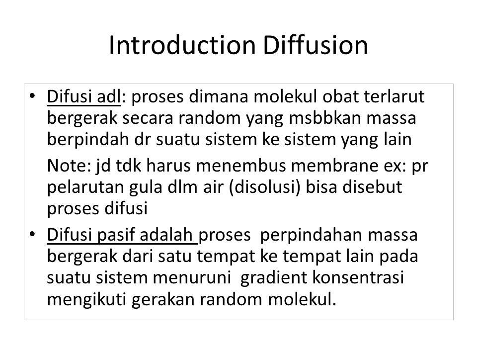 Introduction Diffusion Difusi adl: proses dimana molekul obat terlarut bergerak secara random yang msbbkan massa berpindah dr suatu sistem ke sistem y