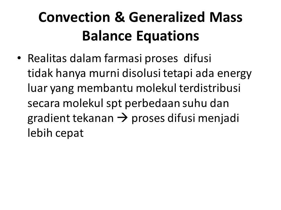 Convection & Generalized Mass Balance Equations Realitas dalam farmasi proses difusi tidak hanya murni disolusi tetapi ada energy luar yang membantu m