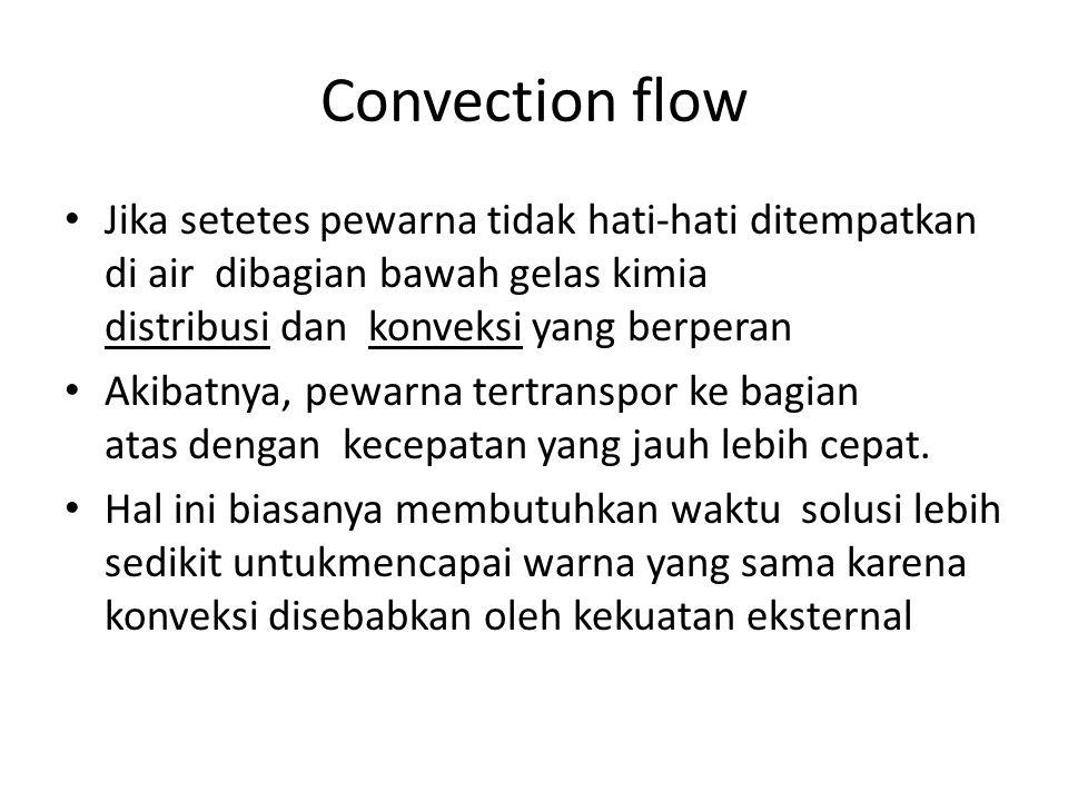 Convection flow Jika setetes pewarna tidak hati-hati ditempatkan di air dibagian bawah gelas kimia distribusi dan konveksi yang berperan Akibatnya, pe