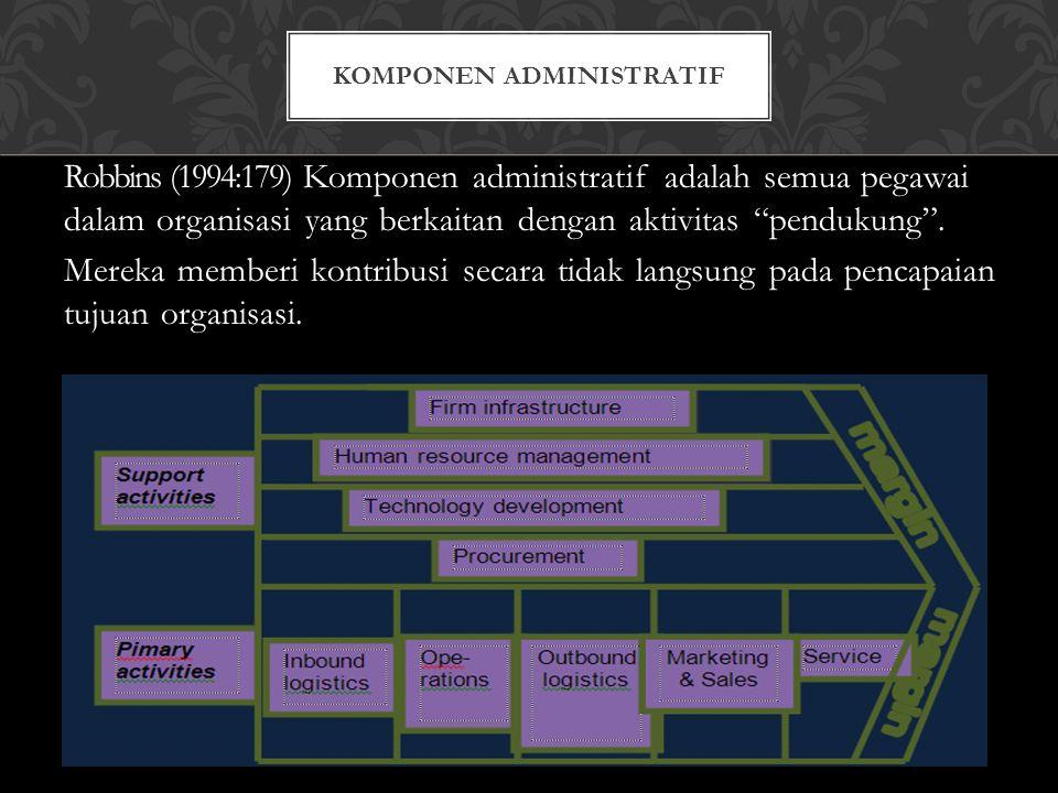 """Robbins (1994:179) Komponen administratif adalah semua pegawai dalam organisasi yang berkaitan dengan aktivitas """"pendukung"""". Mereka memberi kontribusi"""