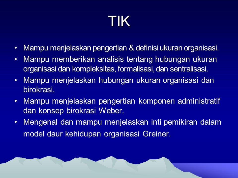TIK Mampu menjelaskan pengertian & definisi ukuran organisasi. Mampu memberikan analisis tentang hubungan ukuran organisasi dan kompleksitas, formalis