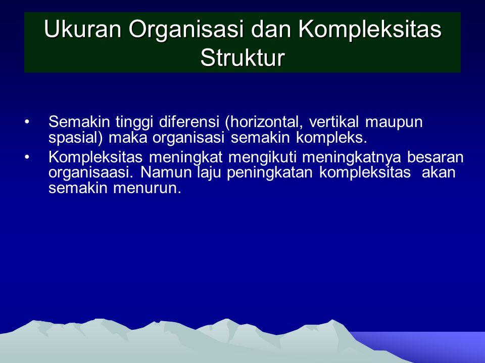 Ukuran Organisasi dan Kompleksitas Struktur Semakin tinggi diferensi (horizontal, vertikal maupun spasial) maka organisasi semakin kompleks. Kompleksi