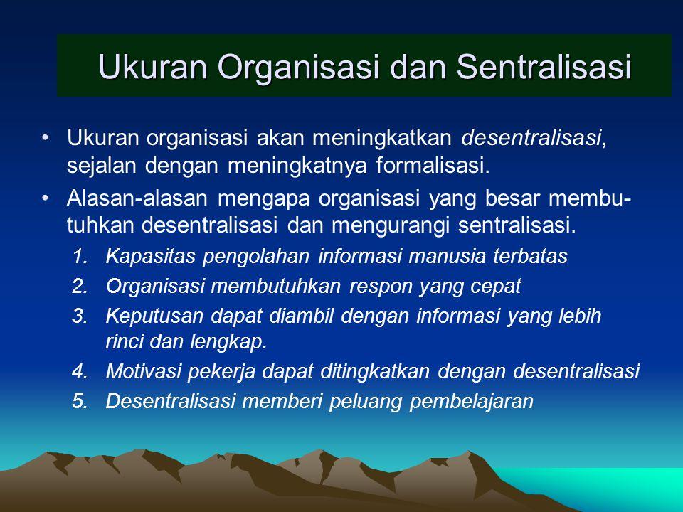 Ukuran Organisasi dan Birokrasi Kusdi (2009:132).