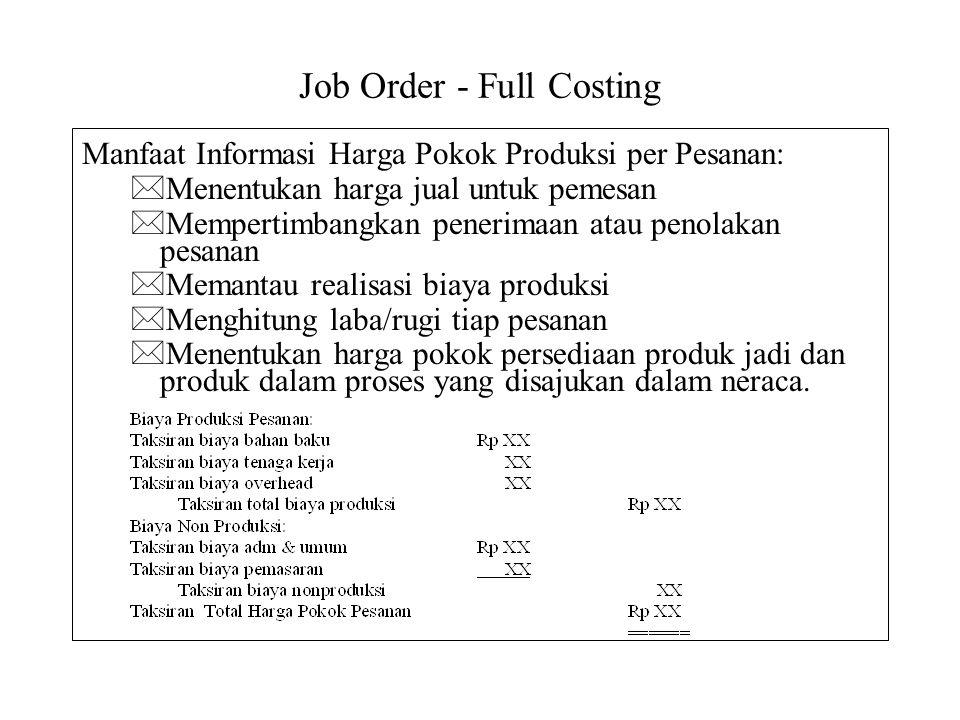 Job Order - Full Costing Manfaat Informasi Harga Pokok Produksi per Pesanan: *Menentukan harga jual untuk pemesan *Mempertimbangkan penerimaan atau pe