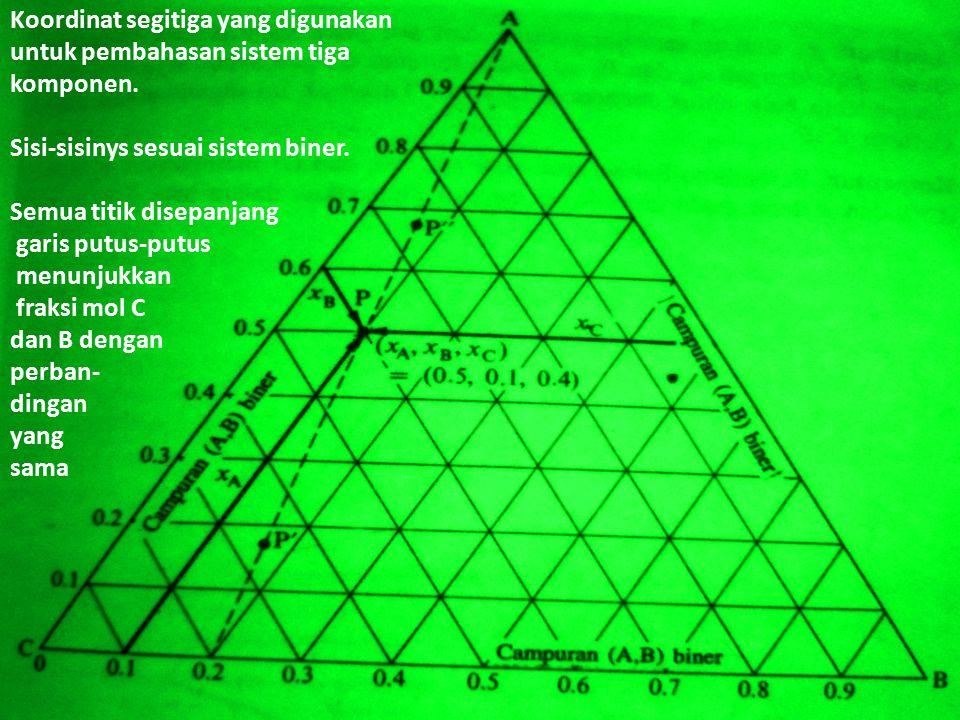 Koordinat segitiga yang digunakan untuk pembahasan sistem tiga komponen. Sisi-sisinys sesuai sistem biner. Semua titik disepanjang garis putus-putus m
